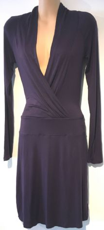 TEZENIS DARK PURPLE CROSS OVER JERSEY DRESS SIZE S 8
